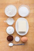 Ingredients for making black and white biscuits
