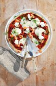 Salmon and mascarpone pizza