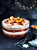 Peach, almond and prosecco trifle