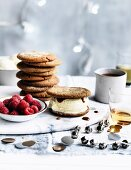Ginger Biscuit Ice-Cream sandwiches with whisky caramel