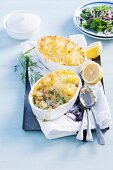 Fish pie with pollack, salmon, prawns and mashed potatoes (England)