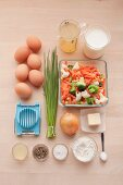 Ingredients for vegetarian egg and vegetable fricassee