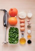 Ingredients for pumpkin flans with lambs lettuce