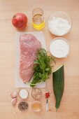 Ingredients for Greek-style kebab meat with garlic and dill quark