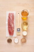 Ingredients for fried pork medallions with pepper sauce