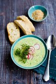 Cress soup with radishes and sesame