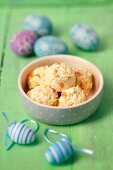 Poultry salad with eggs and carrots for dogs (Easter)