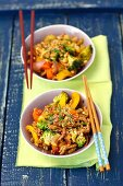 Fried beef with wok vegetables