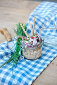 Obatzda (Bavarian cheese spread) with radishes and chives
