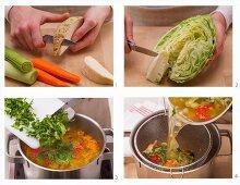 Vegan vegetable stock being made