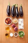 Ingredients for grilled aubergine fans