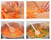 Preparing carrots and peas