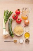 Ingredients for bulgur and vegetables