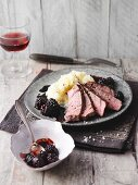Filet steak with blackberry sauce and celery mash (Sirtfood)