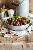 Fresh gooseberries in a metal bowl