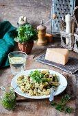 Stinging nettle pesto pasta