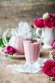 Raspberry yoghurt smoothie with rose water