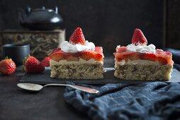 Strawberry nut cake with soy cream (vegan)