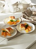 Cheese cake with orange segments