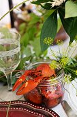 Lobsters with dill blossoms in a glass
