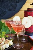 Temptation cocktails with pear and cranberry juice