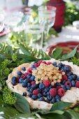 Meringue cake with fresh berries