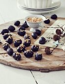 Nougat balls with chopped nuts for Easter