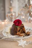 Christmas pudding with vanilla ice cream
