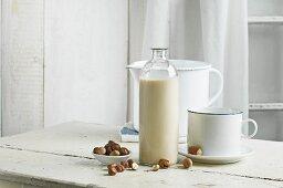 Vegan milk, Hazelnut milk in bottle