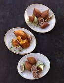 Various kibbeh (stuffed bulgur wheat dumplings, Lebanon)