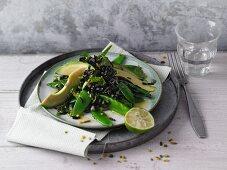 Black rice and avocado salad with lime vinaigrette