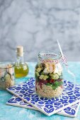 Quinoa salad with roast chicken, courgette and red pepper