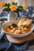 Bouillabaisse and baguette with rouille