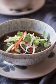 Pho with rice noodles, shoots and Thai basil (Vietnam)