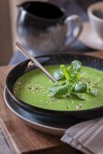 Cress soup with omega 3 seeds