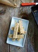 Banana bars with kamut flakes and dates