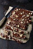 Peanut bars with birch sugar and dark chocolate