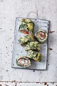 Spinach and salmon roll