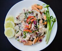 Thai rice noodles with meat and vegetables