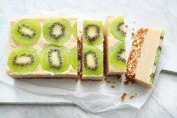 Raw kiwi cake from the fridge