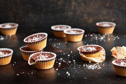Peanut butter cups with sea salt flakes