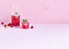 Homemade ginger and raspberry lemonade
