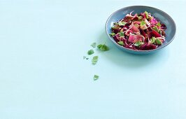Courgette and lentil salad with beetroot and avocado