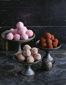 Marzipan balls: classic, nut and chocolate, and fruit