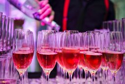 Glasses of rosé champagne for a party
