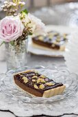 Chocolate and caramel tart with chestnuts (Christmas)