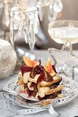 Mille-feuille with mulled wine and brandy chocolate cream (Christmas)