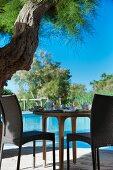 Set breakfast table below tree next to swimming pool
