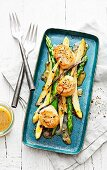 Asparagus and passion fruit salad with vanilla and pan-fried scallops