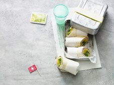 Wraps with ham and Swiss cheese